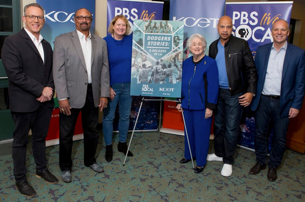 Dodgers historian Mark Langill, former Dodgers center fielder Kenny Landreaux, film's producer Maura Daly Phinney, former LA councilmember Rosalind Wyman, film's narrator Dwane Brown and PBS SoCal/KCET CEO Andrew Russell.