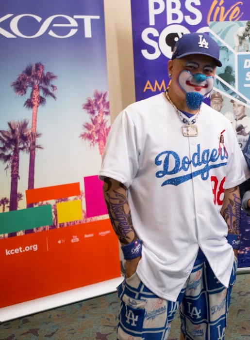 Dodgers Superfan Frankie Mercado aka Hiccups the Clown supports the team at the Los Angeles Central Library on November 23, 2019.