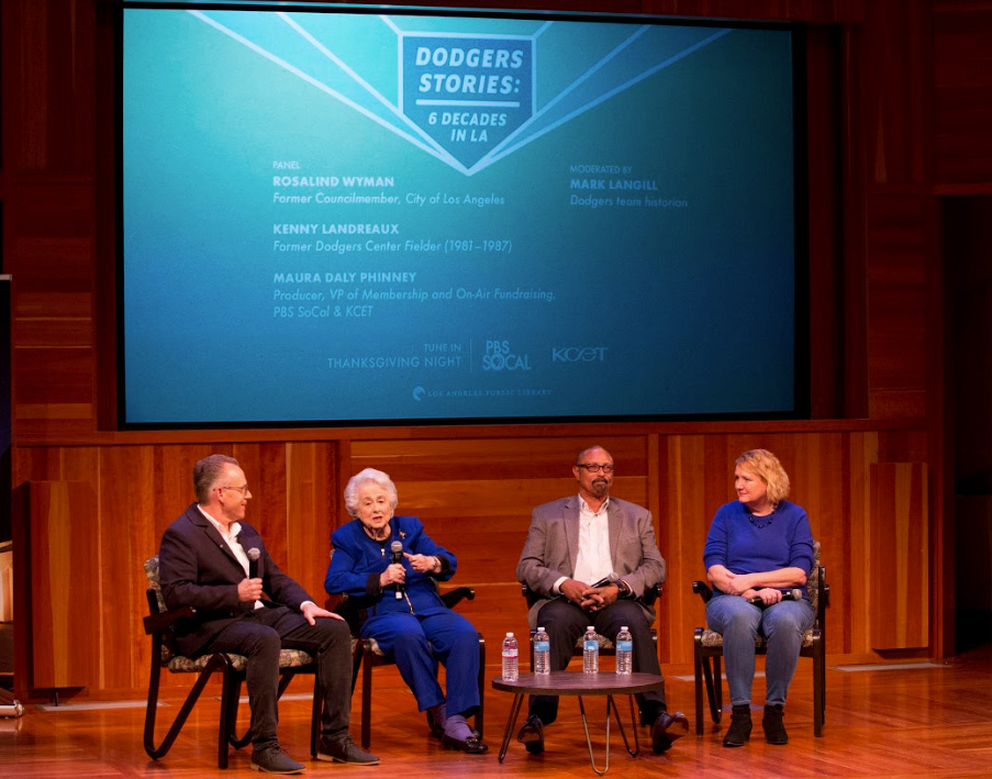 Moderator Mark Langill (Dodgers team historian) led the discussion between panelists Rosalind Wyman (former LA City Councilmember), Kenny Landreaux (former Dodgers center fielder '81-'87) and Maura Daly Phinney (PBS SoCal producer).