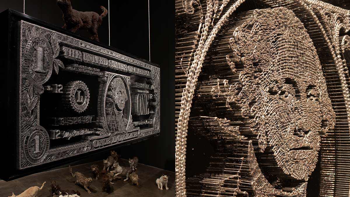 Mondongo, Dollar Bill, 2006. Made of 30,000 nails. | Courtesy of the artists