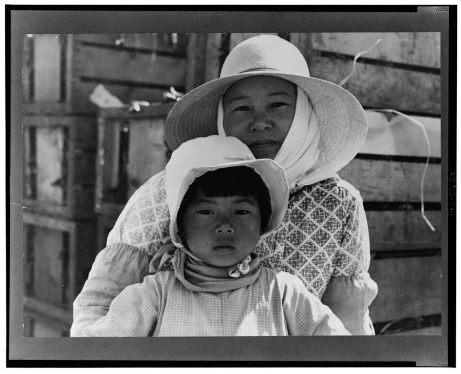 "Dorothea Lange, ""Japanese mother and daughter, agricultural workers near Guadalupe, California."" 