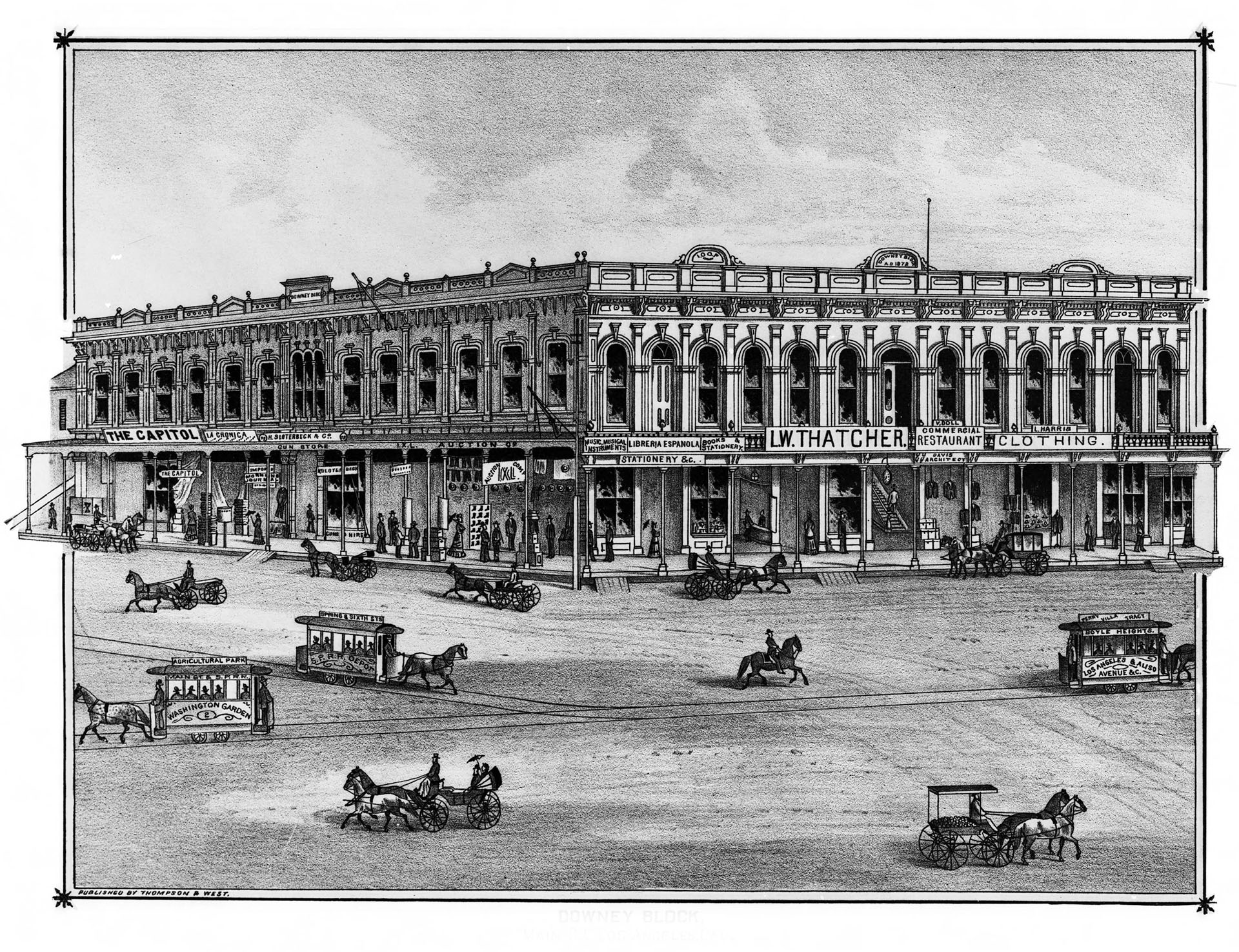 """The Downey Block, the site of Los Angeles' Indian slave market in the 1850s. Lithograph from Thompson & West's 1880 """"History of Los Angeles County."""""""