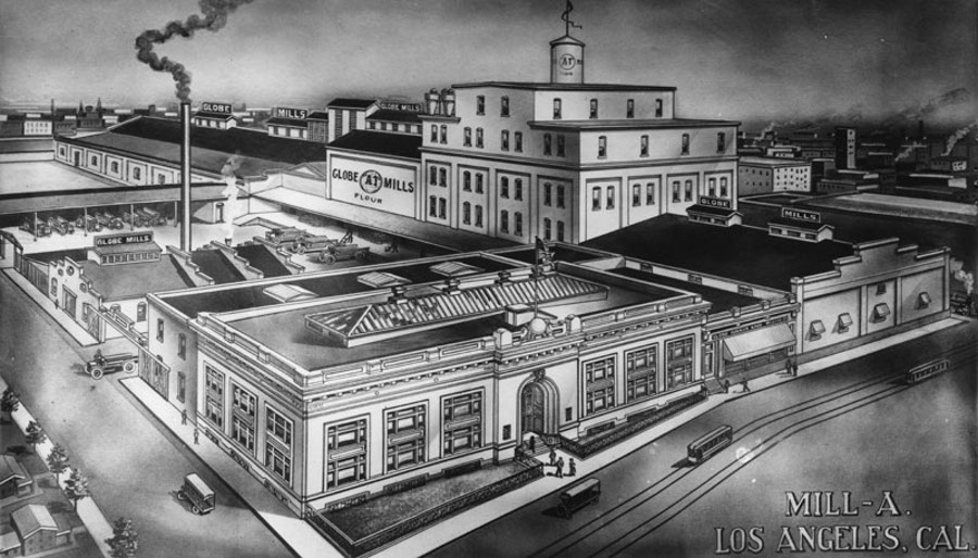 Drawing of the Globe Grain & Milling Co. headquarters and warehouse, located at 907 E. 3rd Street la public library