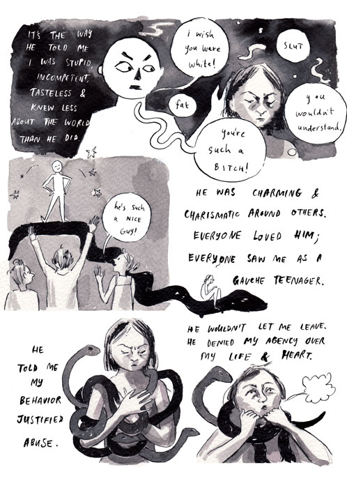 "Destroy Every Thing You Touch (page 3) | Rachel Ang, excerpt from ""Drawing Power: Women's Stories of Sexual Violence, Harassment, and Survival,"" edited by Diane Noomin © Abrams ComicArts, 2019"
