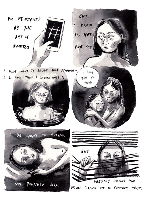 "Destroy Every Thing You Touch (page 4) | Rachel Ang, excerpt from ""Drawing Power: Women's Stories of Sexual Violence, Harassment, and Survival,"" edited by Diane Noomin © Abrams ComicArts, 2019"