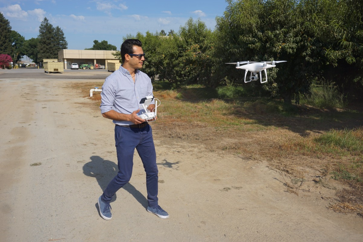 Ali Pourreza with the drone he uses to create virtual orchards. | Ali Pourreza courtesy of UC Agriculture and Natural Resources