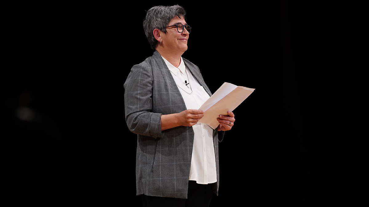 """Kristy Edmunds on stage at a """"10 Questions"""" event in 2019. 