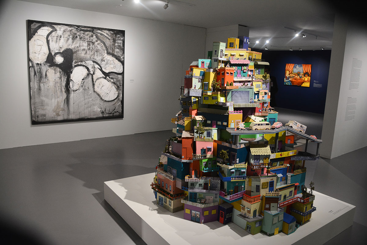 "Installation shot of ""Bridges in a Time of Walls: Mexican/Chicano Art from Los Angeles to Mexico"" 