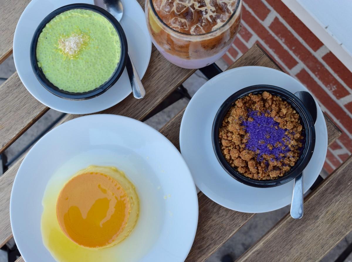 Pandan chia pudding, mango crème caramel, ube upside down pie, and ube horchata | Danny Jensen