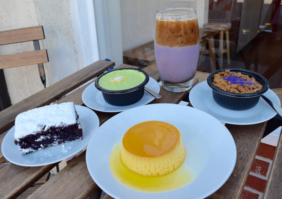 Purplie, pandan chia pudding, mango crème caramel, ube upside down pie, and ube horchata at FrankieLucy | Danny Jensen