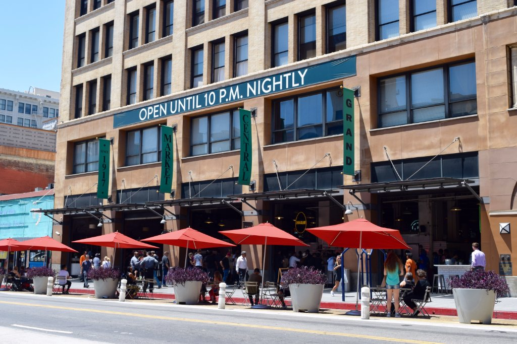 Broadway entrance of Grand Central Market with expanded seating into the street | Danny Jensen