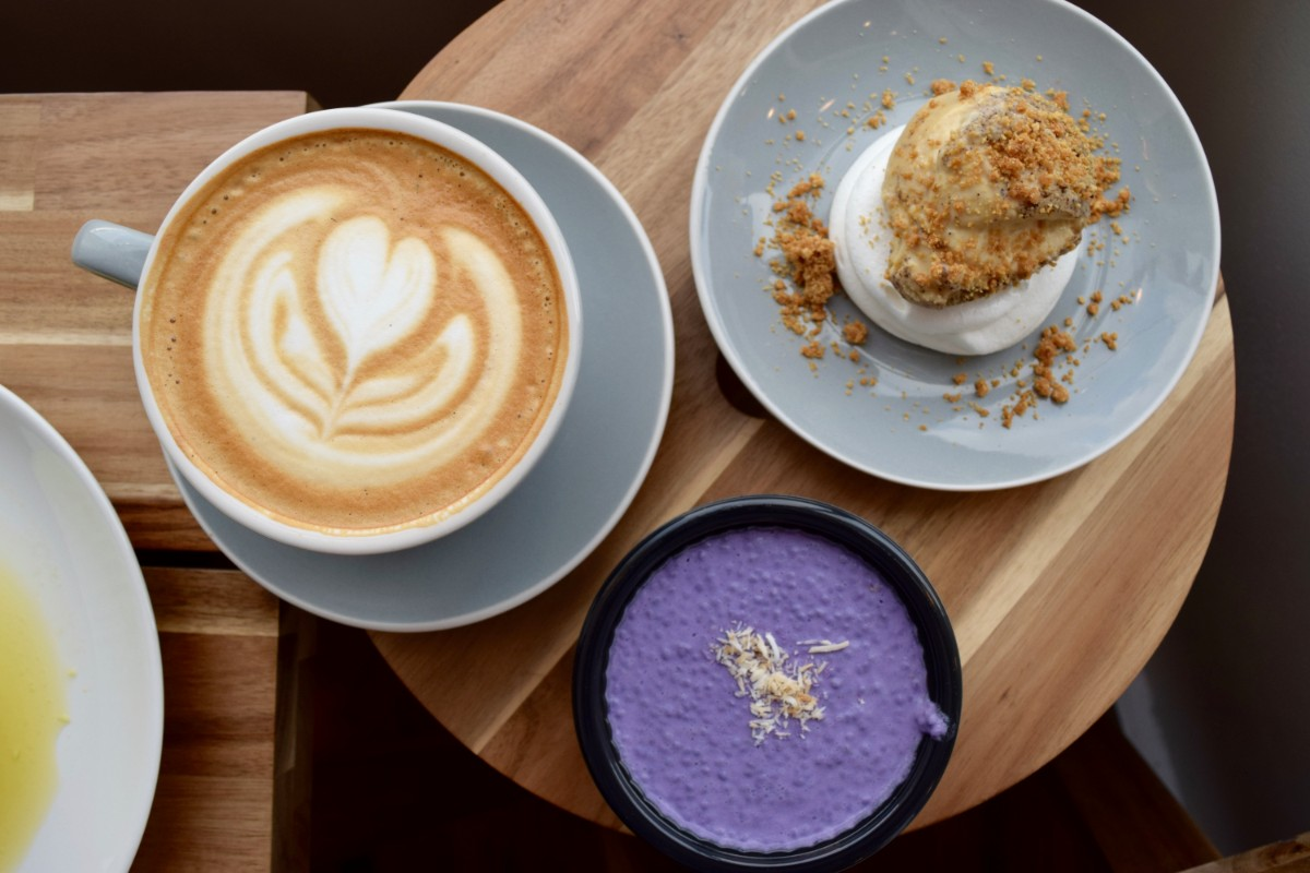 Ube chia seed pudding, off-menu ube pavlova, and bourbon vanilla latte | Danny Jensen