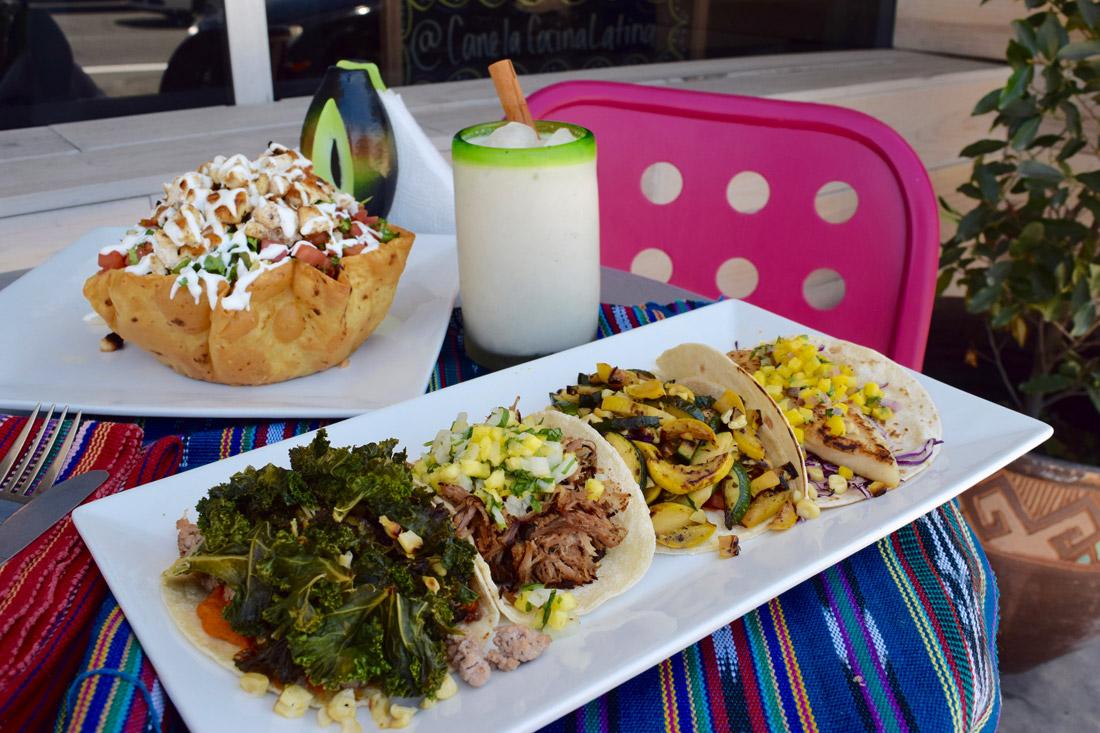 Soul, carnitas, calabacitas, and fish tacos with the tostada salad,Canela Cocina Latina Danny Jensen