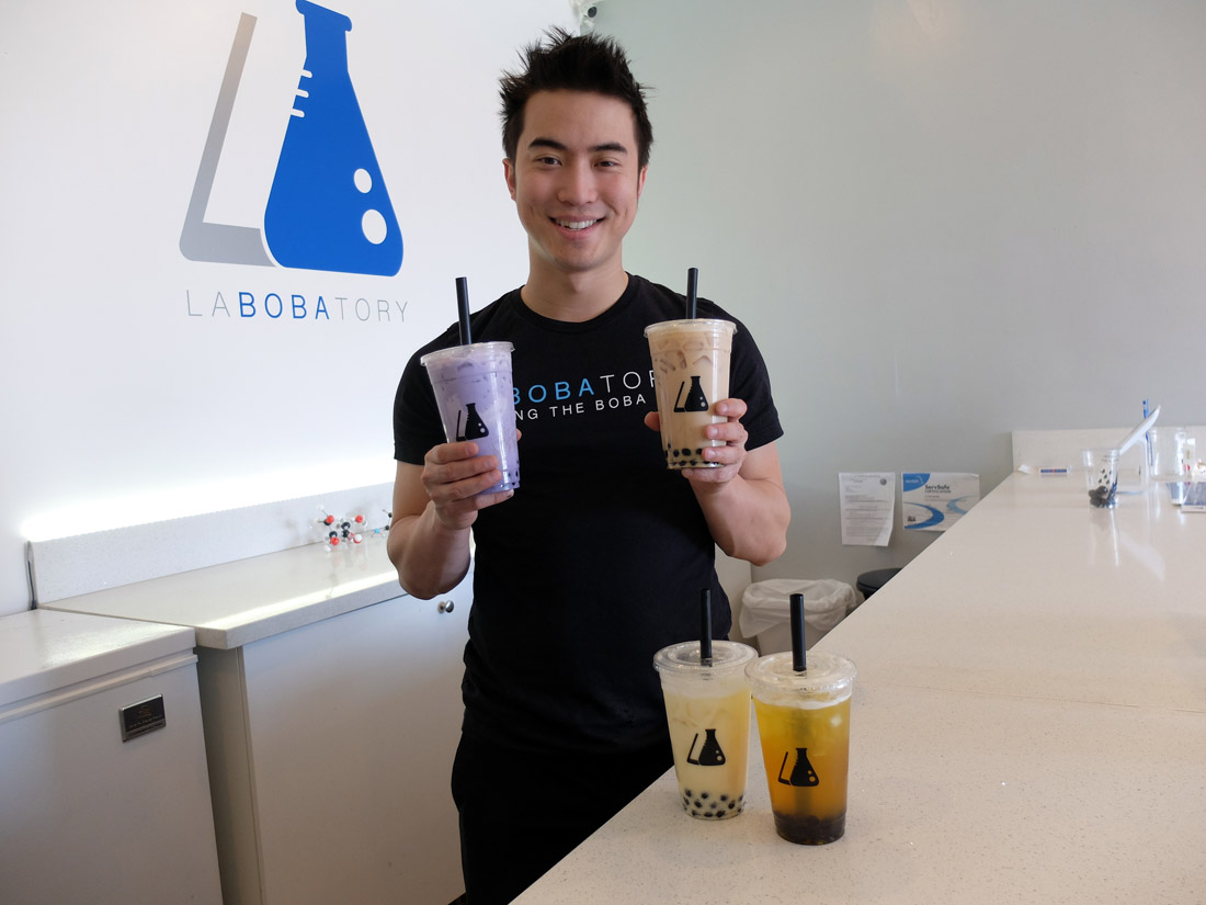 """There has yet to be true innovation [in boba]...and that's what I'm trying to do,"" says Keung, owner of Labobatory."