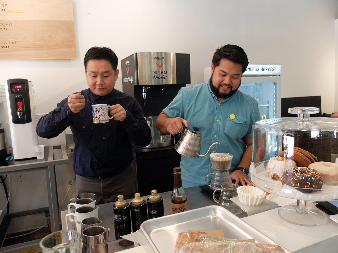 Yeekai Lim (left) and Aldo Lihiang (right), co-owners of CoffeeHall Chinatown | Allyson Escobar