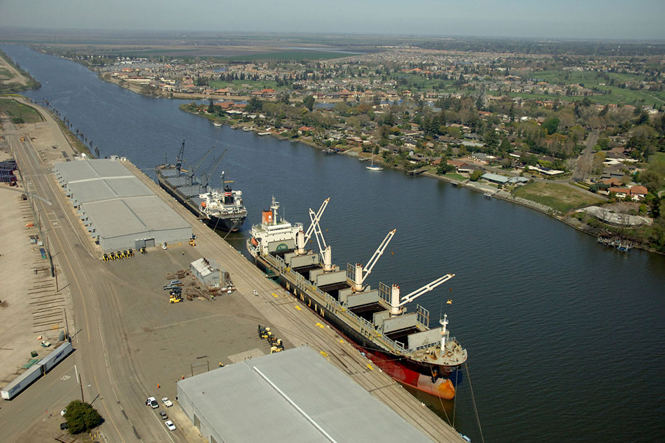 Port of Stockton: Ships, Warehouses, City in Background