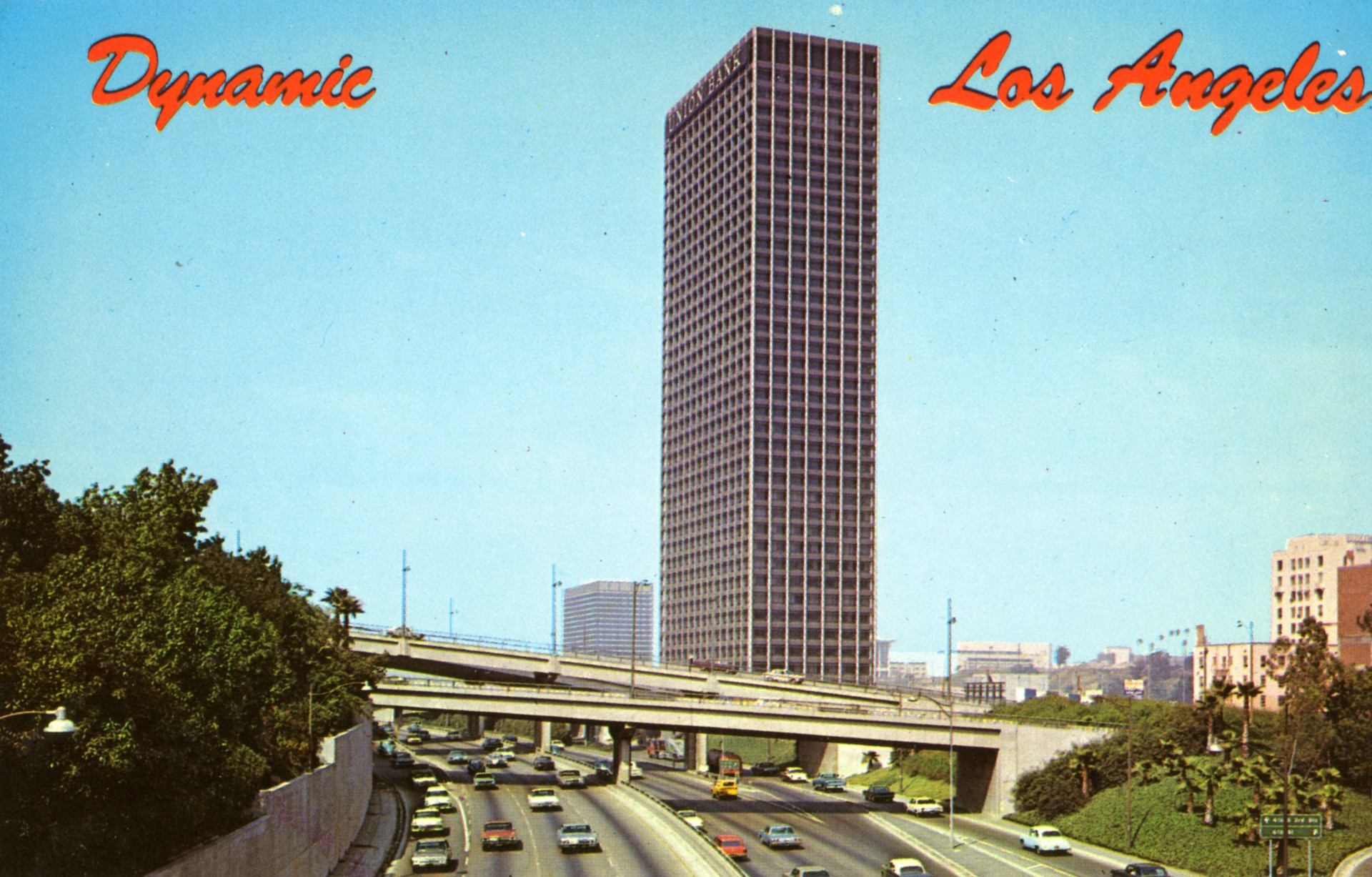 "Freeway-adjacent Union Bank Square was an emblem of ""Dynamic Los Angeles,"" according to this 1968 postcard"