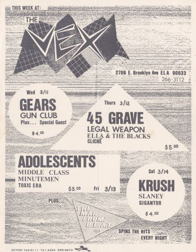 The Vex, 1981 March 11 to 1981 March 14 punk flier. | Johan Kugelberg punk collection, #8060. Division of Rare and Manuscript Collections, Cornell University Library.