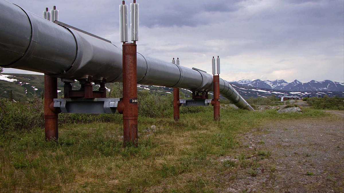 "The Trans-Alaska pipeline | Still from Earth Focus ""Fueling Change: Alaskan Communities Divided Over Oil Drilling"""