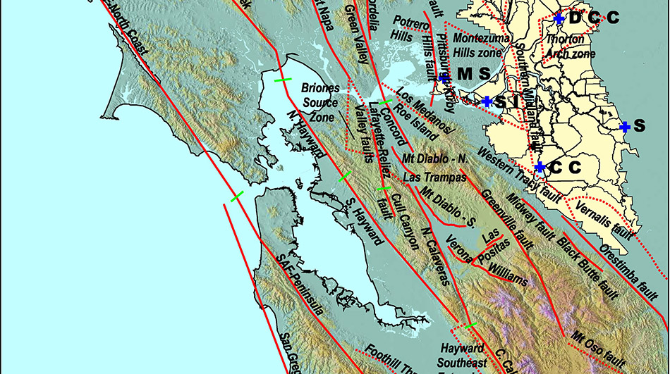 Map of Earthquake Faults in Bay Delta Area