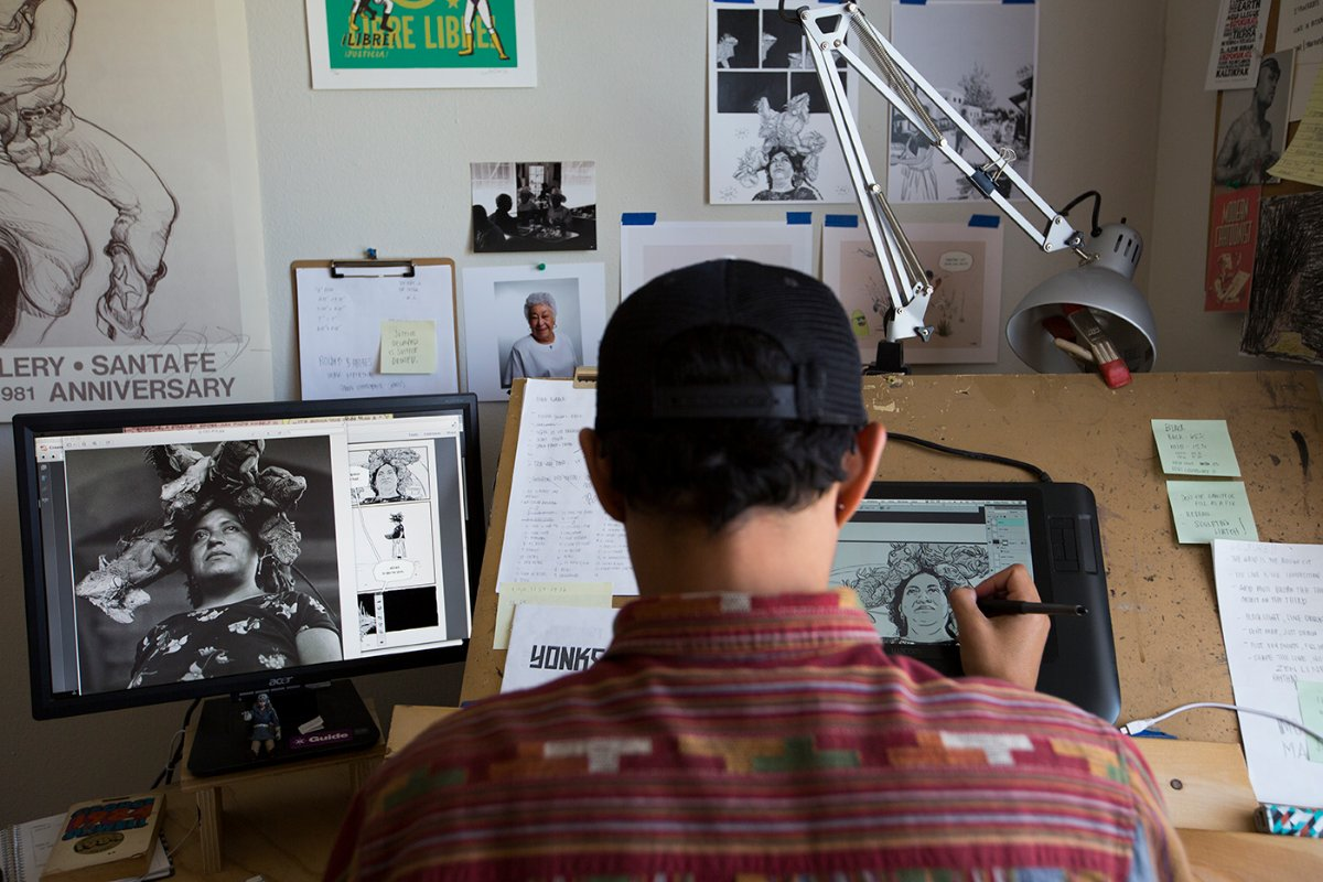 Zeke Pena working on PhotoGRAPHIC: © J. Paul Getty Trust | Sarah Waldorf - Graciela Iturbide exhibition PST LA/LA