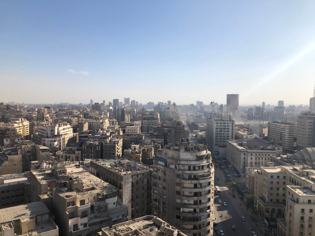 Blue sky is seen over downtown Cairo, Egypt, May 15, 2020.   Thomson Reuters Foundation/Menna A. Farouk