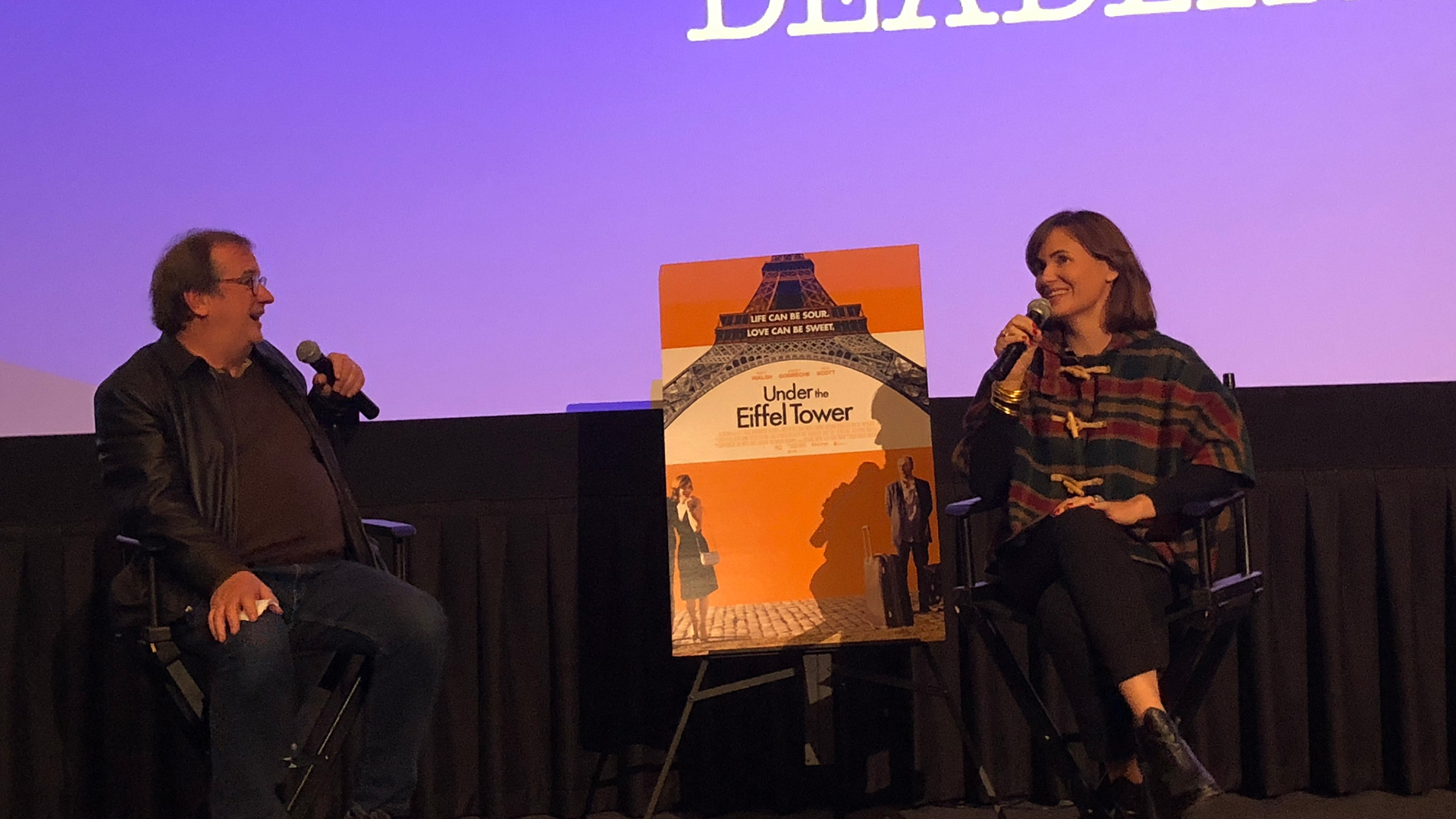 "Cinema Series host Pete Hammond and Actor Judith Godrèche participate in a Q&A after a screening of ""Under the Eiffel Tower"""