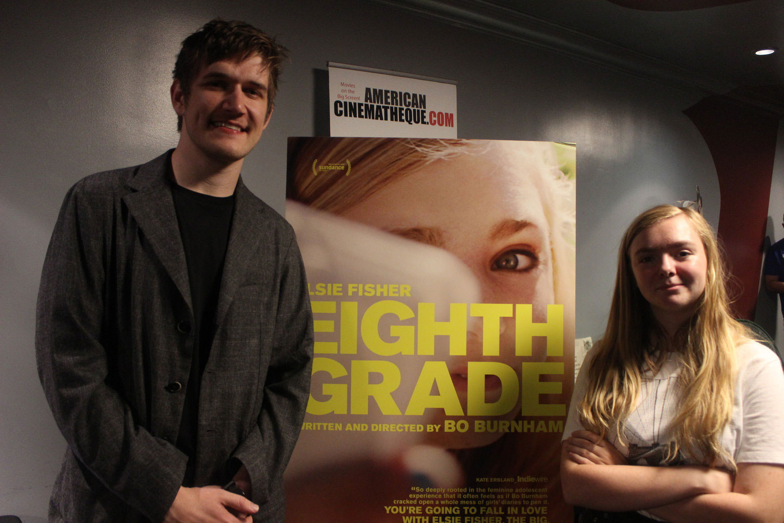"Writer/Director Bo Burnham and Actress Elsie Fisher after a screening of ""Eighth Grade"""