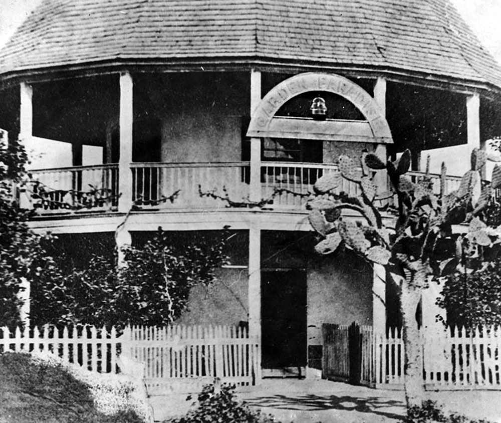 Entrance to Paradise. The round house became the Garden of Paradise in 1858, a combination of beer garden, playground, and concert venue. Photograph courtesy of Security Pacific National Bank Collection, Los Angeles Public Library