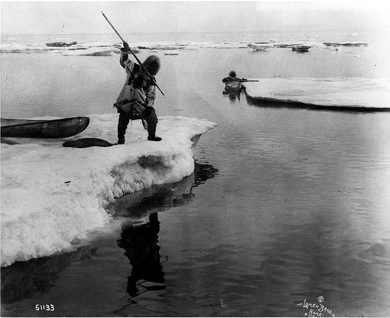 Traditional Native Alaskan seal hunting, circa 1911. | Public Domain