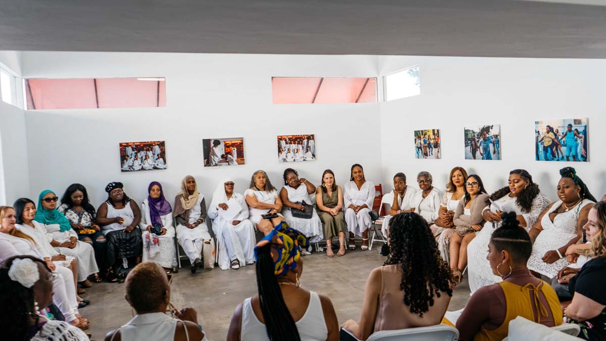 Graduation for the Essie Justice group. Women gather at the Crenshaw Dairy Mart space | Courtesy of Crenshaw Dairy Mart