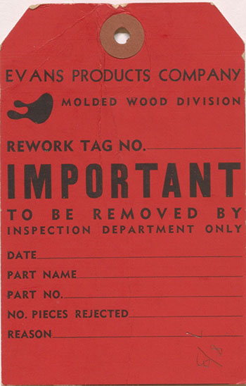 Evans Company Molded Wood Division Tag