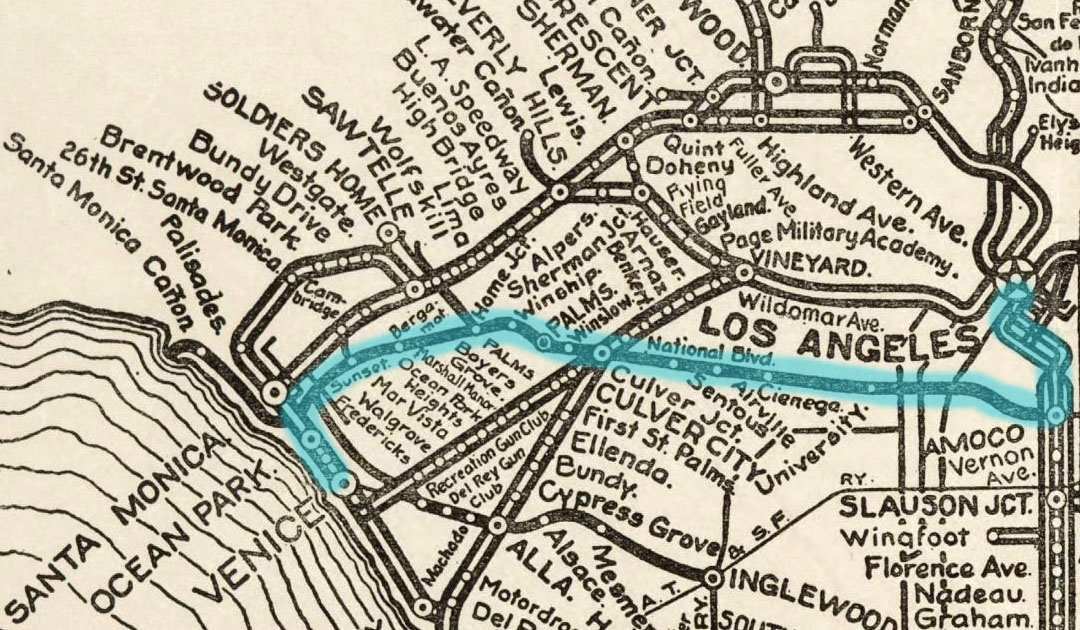 Detail of a circa 1912 map of the Pacific Electric interurban rail system. The Santa Monica Air Line is highlighted in aqua. Courtesy of the Special Collections, Young Research Library, UCLA.