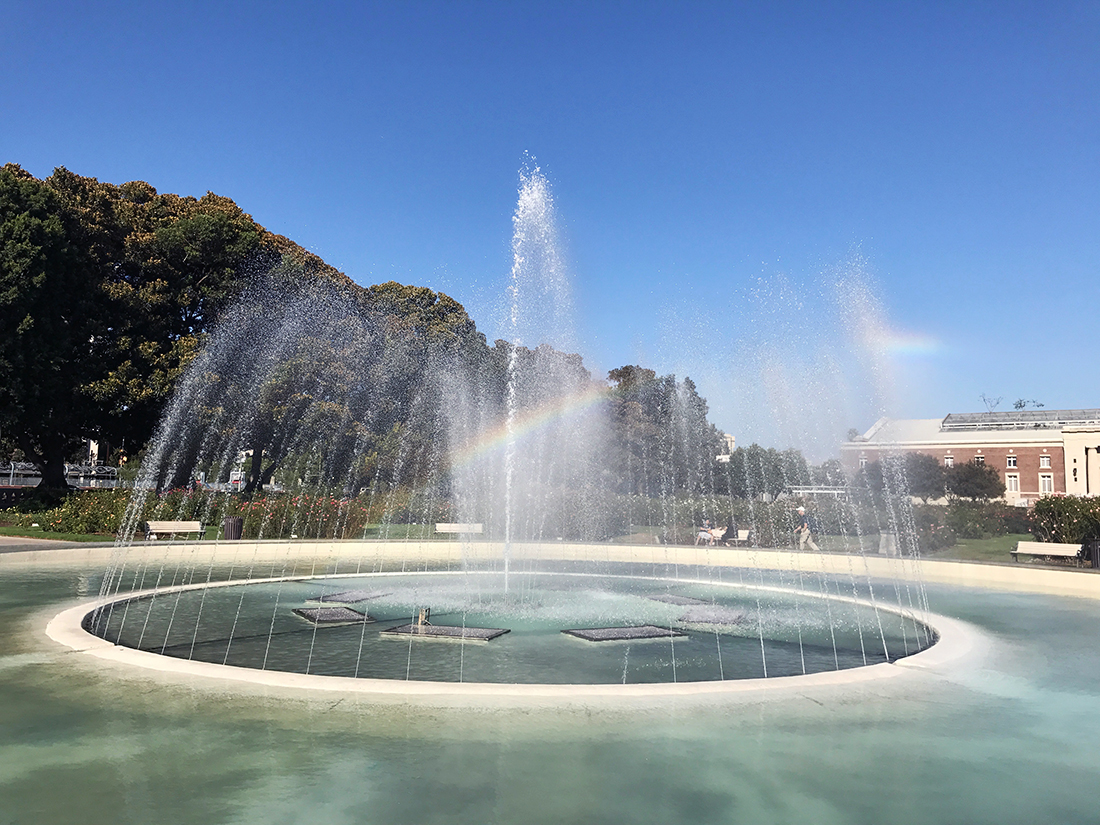 The rainbow over the fountain symbolized hope for South Central. | Jonathan P. Bell (1100px