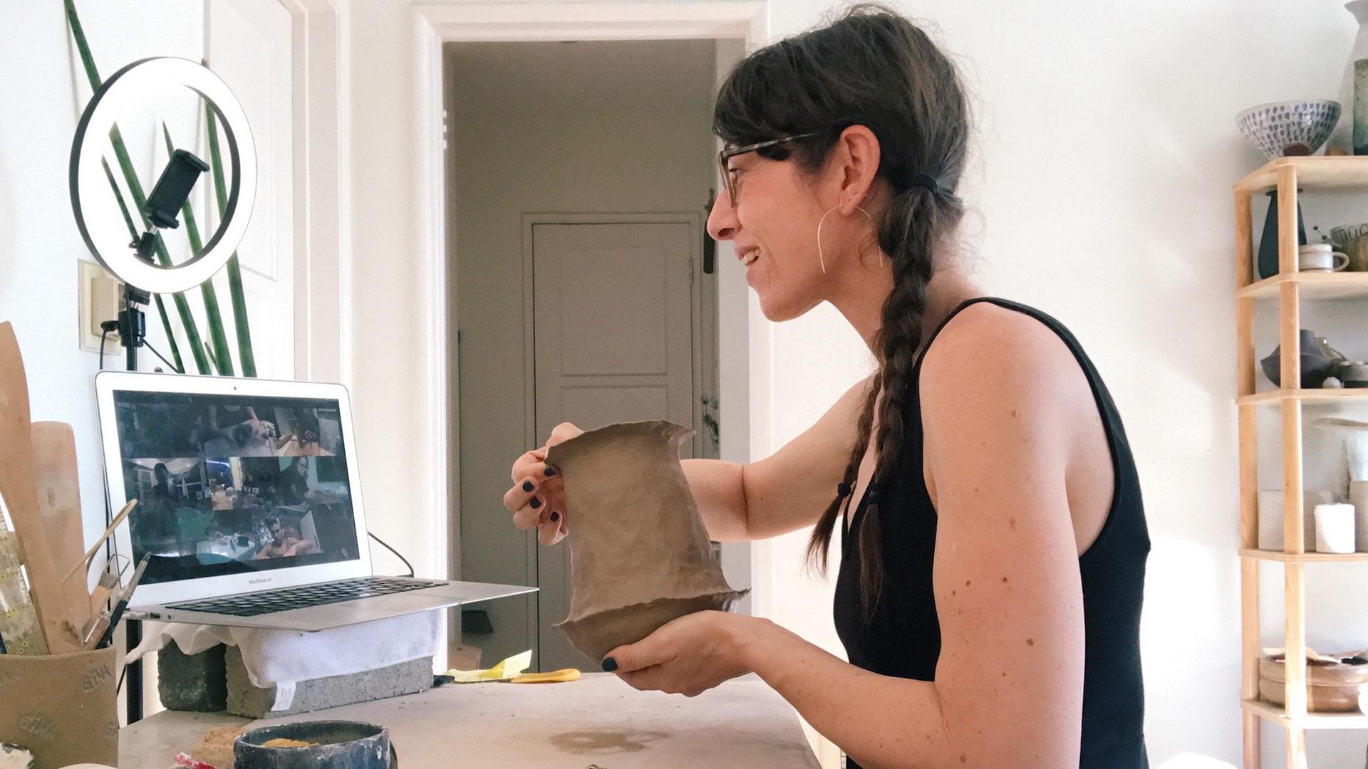A Stil Life Ceramics instructor teaches an online workshop. | Courtesy of Stil Life Ceramics