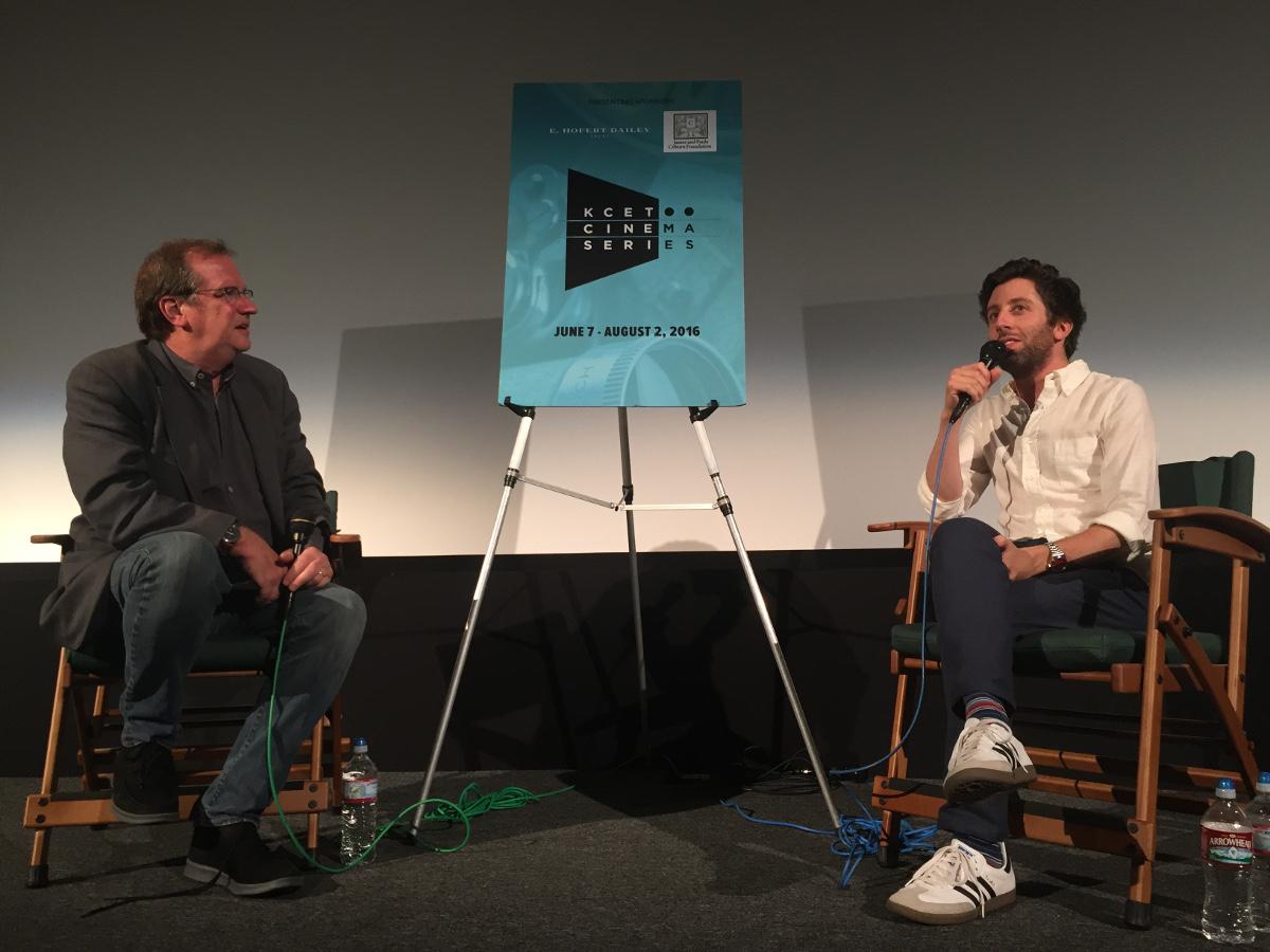 "Pete Hammond and Simon Helberg discuss ""Florence Foster Jenkins.""   Photo: Liz Ohanesian."
