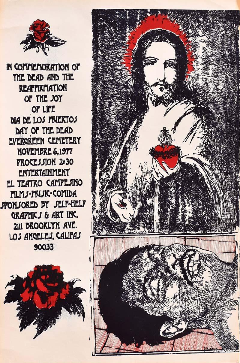 """Untitled"" by John Valadez (1977 Commemorative Dia de Los Muertos Print) | Courtesy of Self Help Graphics & Art"