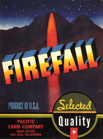 Firefall produce label, circa 1930
