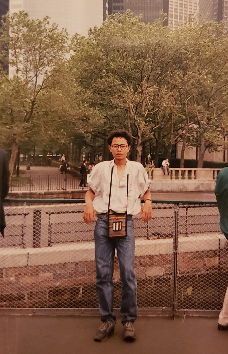 Anil Shahi stops for a picture on a ferry to the Statue of Liberty on his second or third day in the U.S. during the end of May, 1989. | Courtesy of Anil Shahi