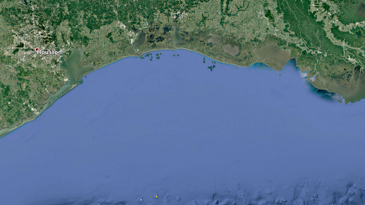 Small reefs south of the Texas Gulf Coast | Map: KCET/Google Earth/WRI