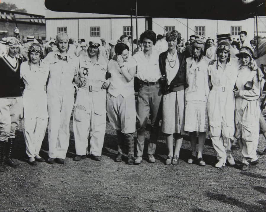 A handful of the female aviators who competed in the first women's transcontinental air derby which began in Santa Monica on August 18, 1929. Amelia Earhart is fourth from the right. Louise Thaden, who won the 2700-mile race, is fifth from the right.