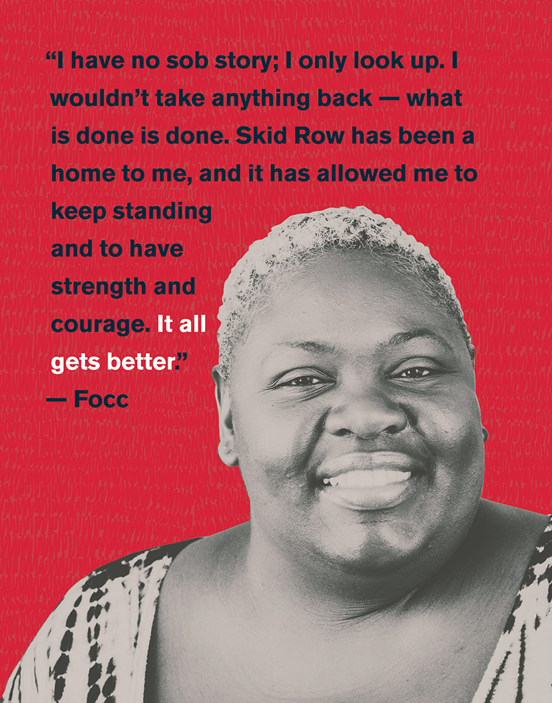 Focc, a woman experiencing homelessness in Skid Row. |Barry Shaffer, via Downtown Women's Center
