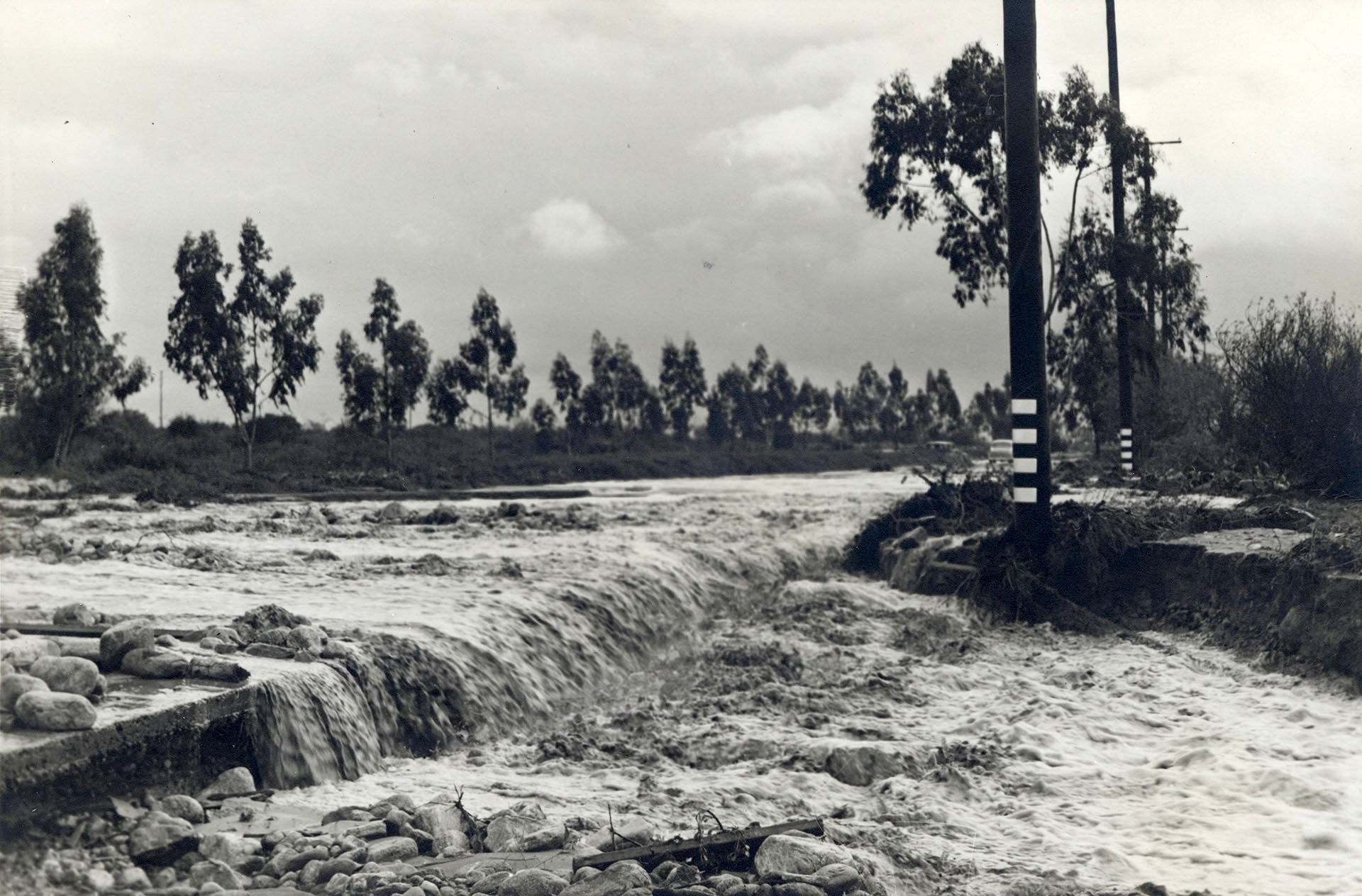 Foothill Blvd. in Claremont, washed out by floodwaters in March 1938