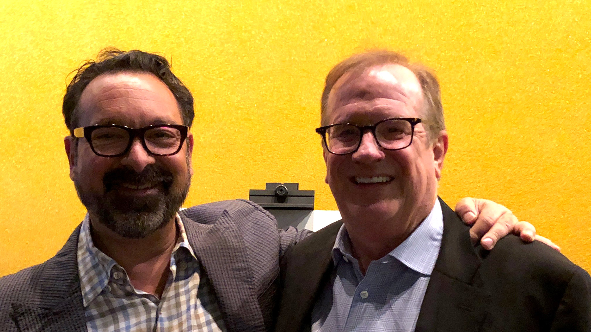 Director James Mangold and KCET Cinema Series host Pete Hammond pause for a photo before the Q&A.
