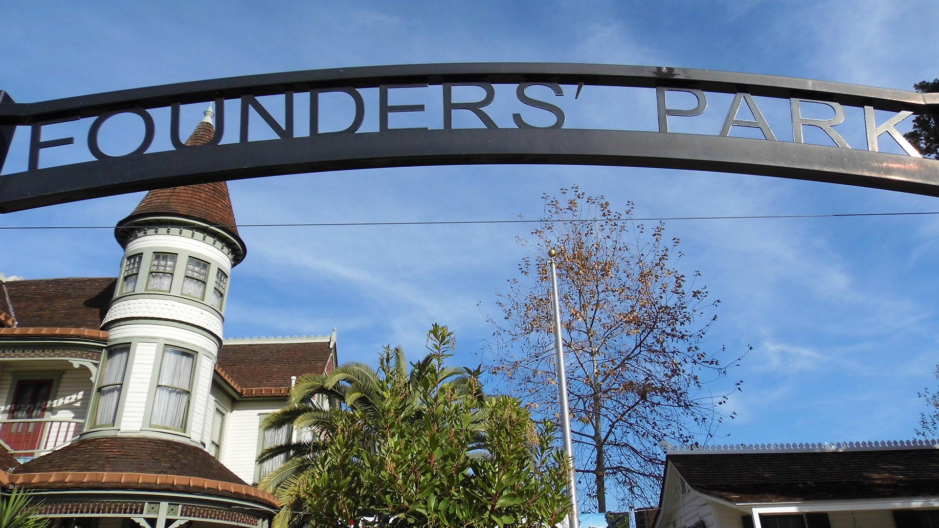 "Picture of a sign that says ""Founder's Park."""