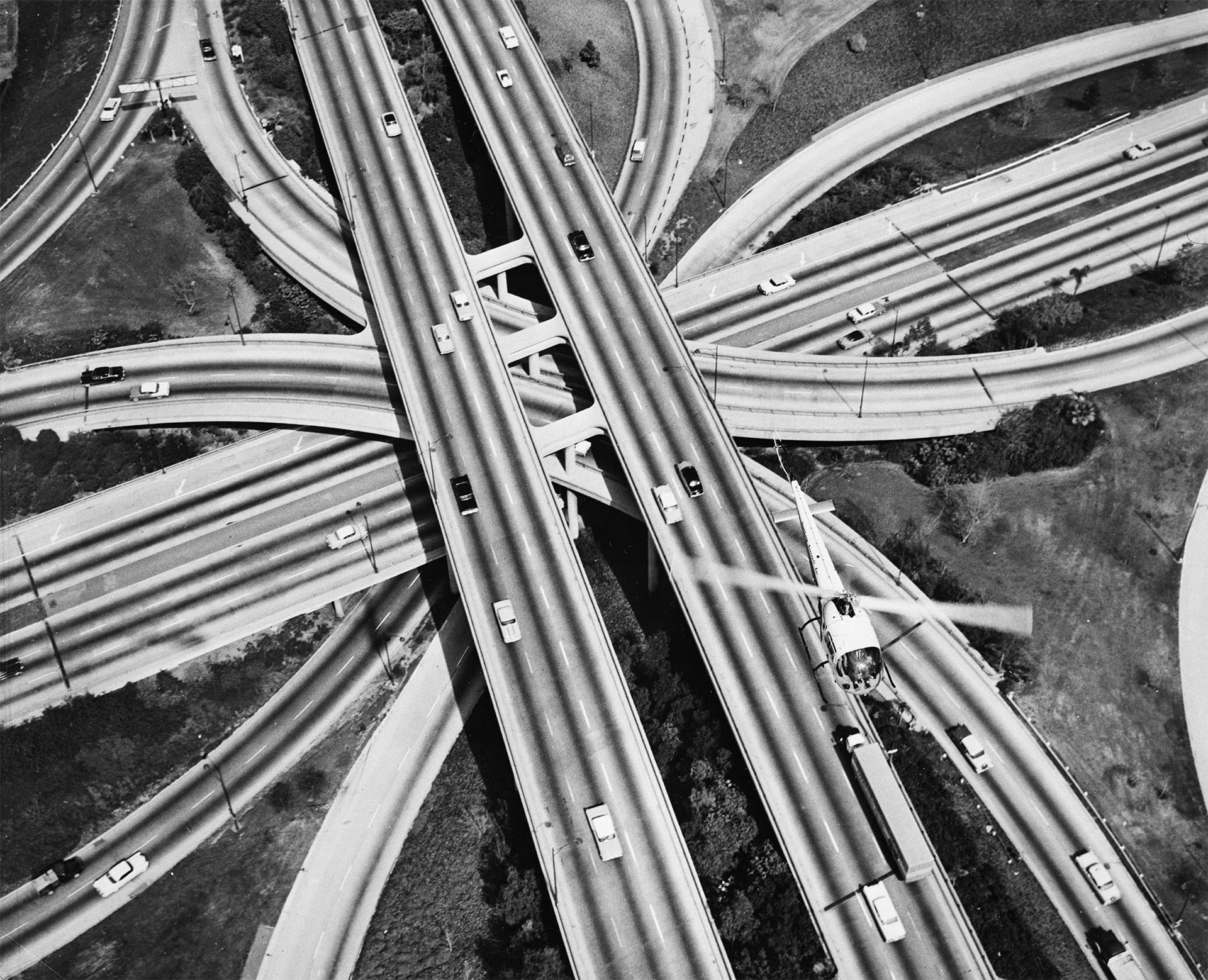 Aerial view of the Four Level Interchange, 1959