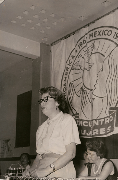 Francisca Flores addressing the First Convention of Women from Mexico, Central America, and the Caribbean, Mexico City, 1961. Image from the Comisión Femenil Mexicana Nacional Archives (CEMA 30) | Courtesy of CEMA