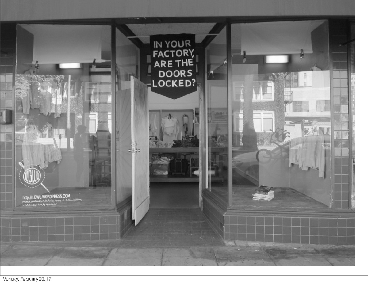 Institute 4 Labor Generosity Workers & Uniforms. Store front view. 2015 | Carole Frances Lung