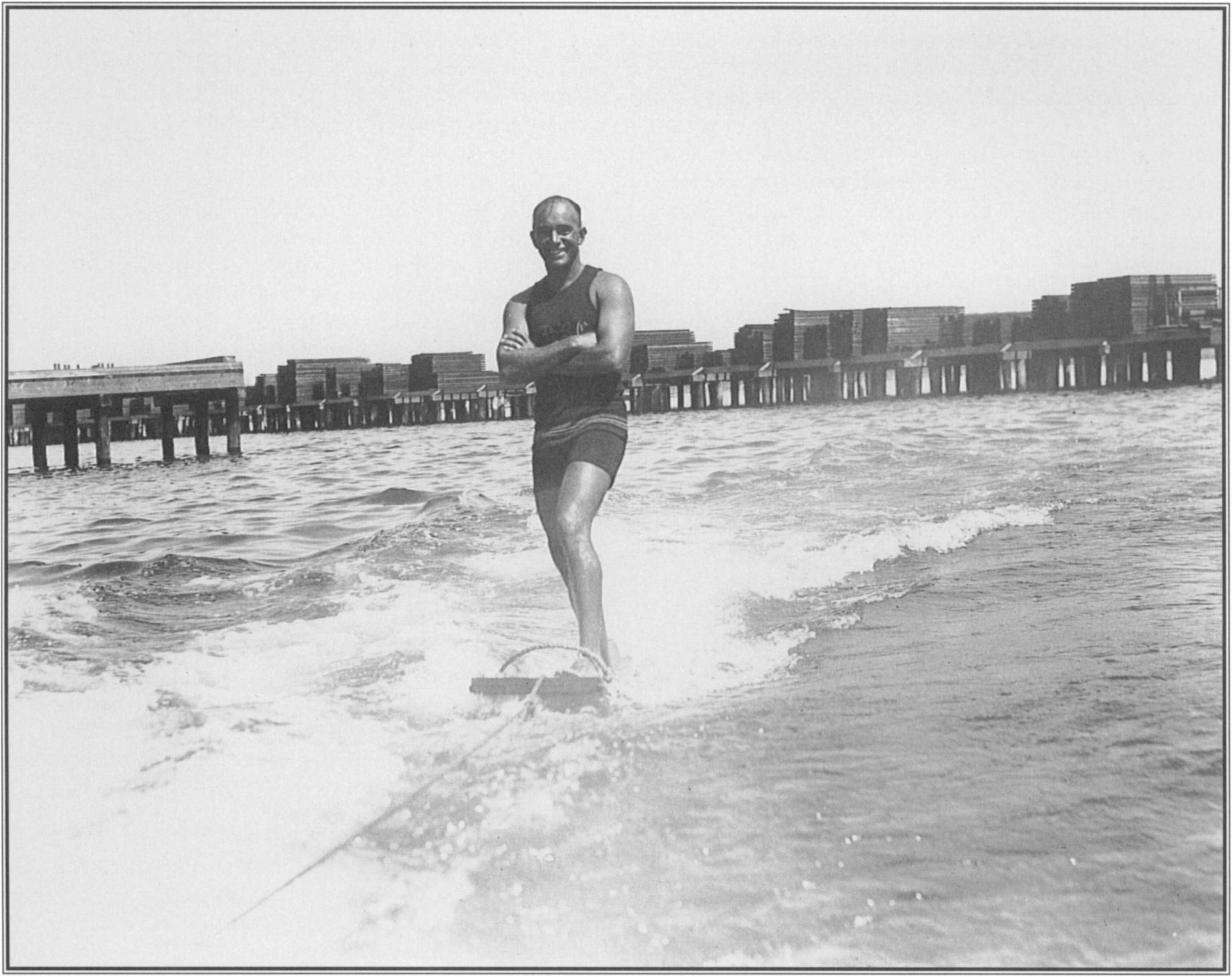 "Looking like ""a brown Mercury (whose) heels are winged,"" as Jack London had called  him  years before in  Hawaii, George Freeth  aquaplaned  with  apparent  effortlessness in September 1916 in  San Diego."