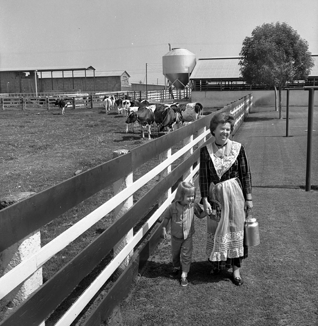 Mrs. Arthur Atsma of Dairy Valley (now Cerritos) in Frisian costume with her daughter, Alicia. Photo courtesy of Los Angeles Times Photographic Archives – Department of Special Collections, Charles E. Young Research Library, UCLA